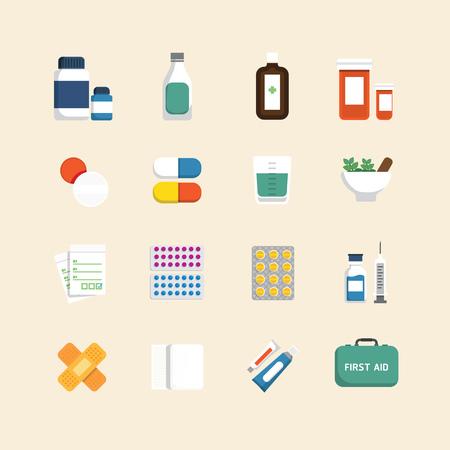 pastillas: Iconos planos Vector conjunto de m�dicos y atenci�n de la salud concepto de dise�o.