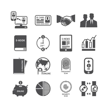 bank book: Icons set business technology vector design.