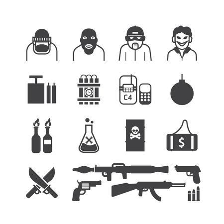 アイコンはテロリストのベクトル デザインを設定します。  イラスト・ベクター素材