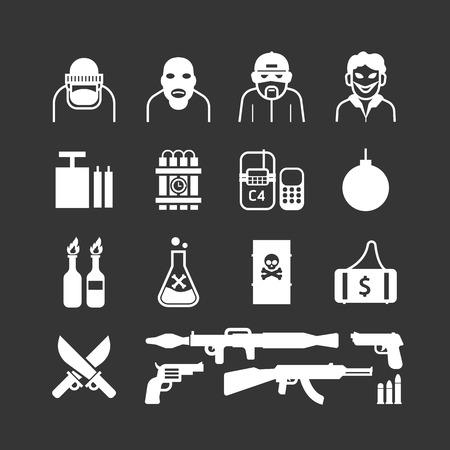 tnt: Icons set terrorist vector design.