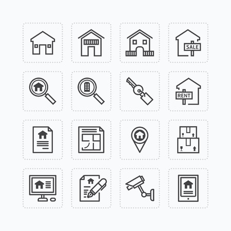 mortgage: Vector flat icons set of real estate property outline concept.
