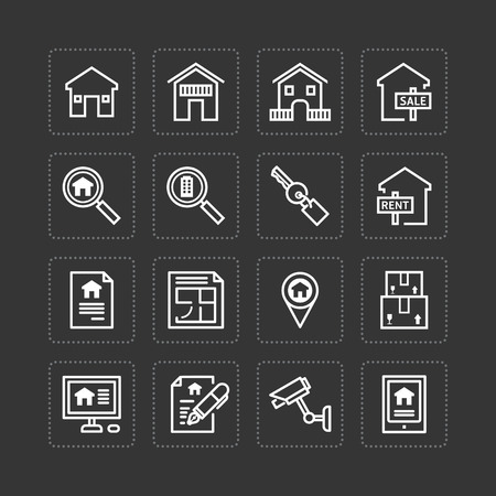 realestate: Vector flat icons set of real estate property outline concept.