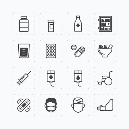 masks: Vector flat icons set of medical & health care outline concept. Illustration