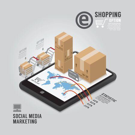 social media marketing: Dise�o Infograf�a plantilla de Social Media Marketing. concepto de ilustraci�n vectorial Vectores