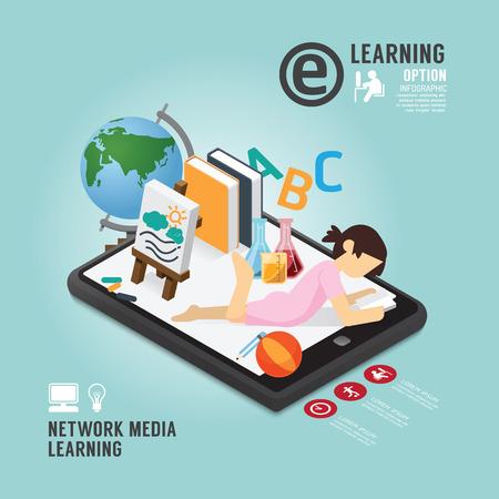 tablet: Infographic Education Media Learning Template Design . Concept Vector illustration Illustration