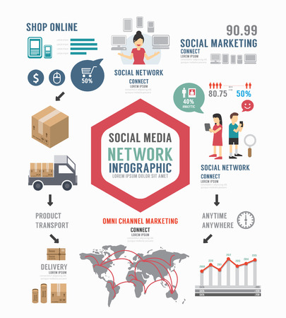 arrow icons: Infographic Social Business template design . concept vector illustration Illustration