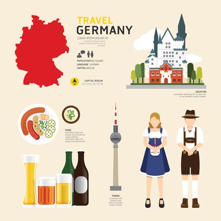 utazási: Travel Concept Németország Landmark Flat ikonok tervezése .Vector illusztráció