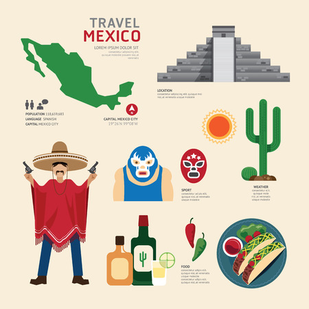 Travel Concept Mexico Landmark Flat Icons Design .Vector Illustration Çizim