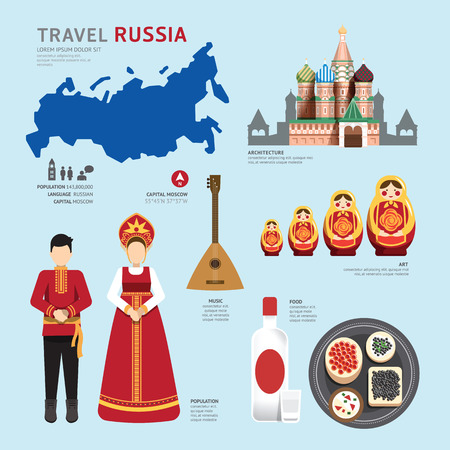 russia map: Travel Concept Russia Landmark Flat Icons Design .Vector Illustration