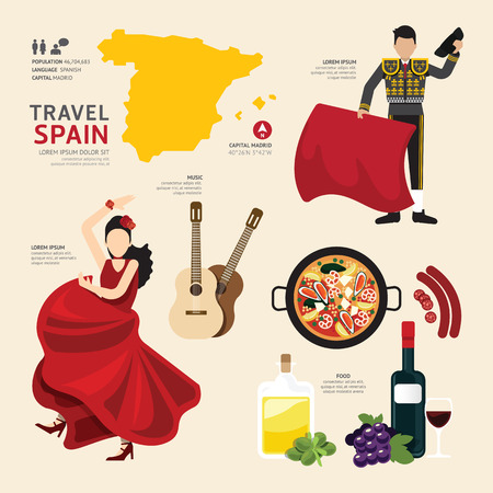 du lịch: Travel Concept Tây Ban Nha Landmark Flat Design Icons .Vector Illustration