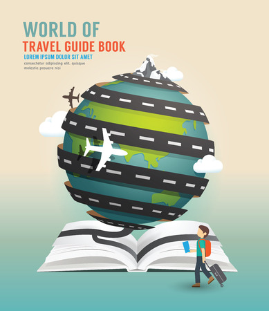 mochila viaje: Dise�o de viajes mundial abierta gu�a libro concepto de ilustraci�n vectorial.