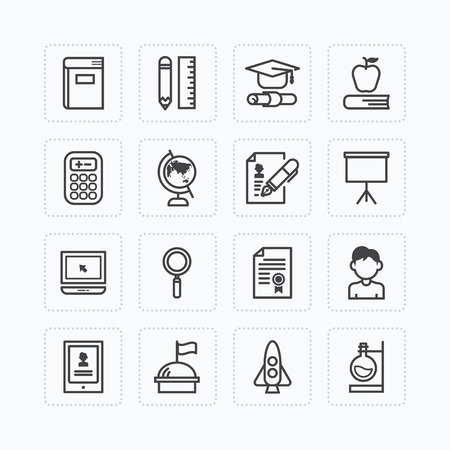Vector flat icons set of education school tools outline concept.