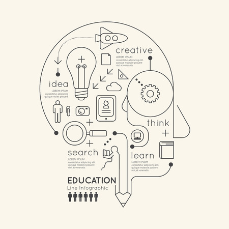 innovation: Flat linear Infographic Education Outline Pencil Head Concept.Vector Illustration.