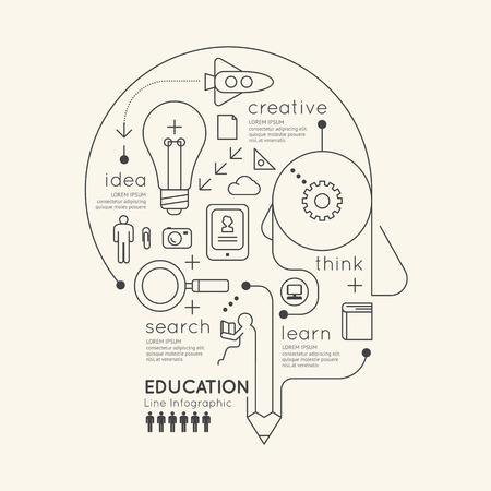 conceito: Linear Contorno Infográfico Educação Pencil Cabeça Concept.Vector Ilustração Flat.
