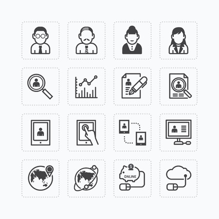 Vector flat icons set of business finance technology outline concept. Vector