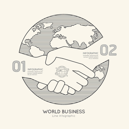 joined hands: Flat linear Infographic World Business Handshake Outline Success concept.Vector Illustration.