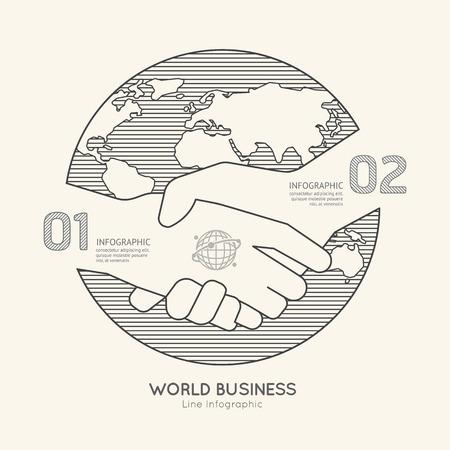 manos unidas: Lineal Esquema Infograf�a World Business Handshake plana �xito concept.Vector Ilustraci�n.