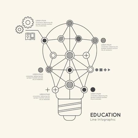 lightbulb: Flat linear Infographic Education Outline lightbulb Concept.Vector Illustration. Illustration