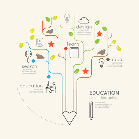 Ilustración lineal plana Infografía Educación Lápiz Árbol concept.Vector Esquema.
