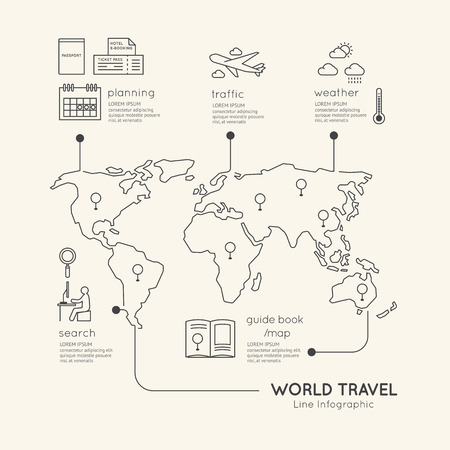 map of world: Flat linear Infographic Education Outline concept.Vector Illustration.