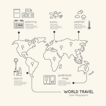 Platte lineaire Infographic Onderwijs Outline concept.Vector Illustratie. Stock Illustratie