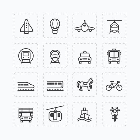 flight board: Vector flat icons set transportation outline concept.