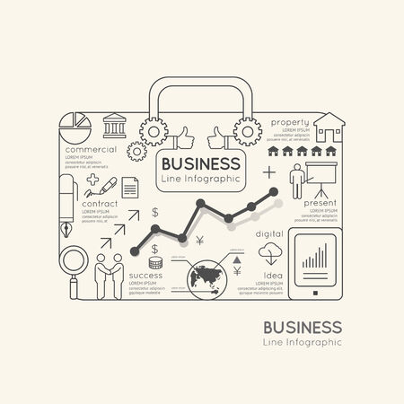 property: Flat linear Infographic World Business Bag Outline concept.Vector Illustration.