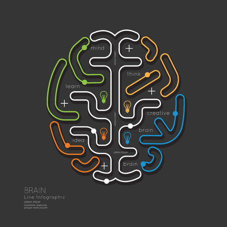 Flat linear Infographic Education Outline Brain Concept.Vector Illustration.  イラスト・ベクター素材