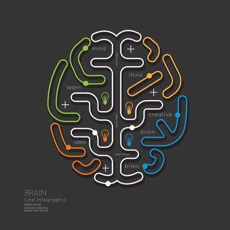Flat linear Infographic Education Outline Brain Concept.Vector Illustration. 일러스트