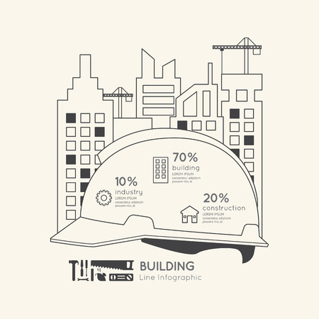 residential construction: Flat linear Infographic Construction Helmet Outline Concept.Vector Illustration.