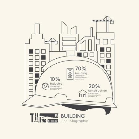 construction: Flat linear Infographic Construction Helmet Outline Concept.Vector Illustration.