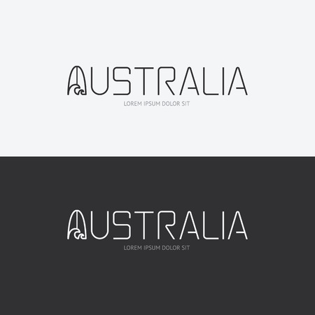 Vector alphabet australia design concept with flat sign icon can be used for travel publishing or web design layout.