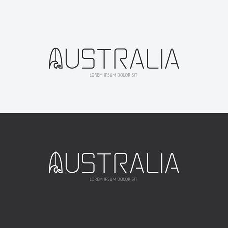 logo voyage: Vector alphabet australie concept de design avec le signe icône plat  peut être utilisé pour la publication de Voyage ou web design layout. Illustration