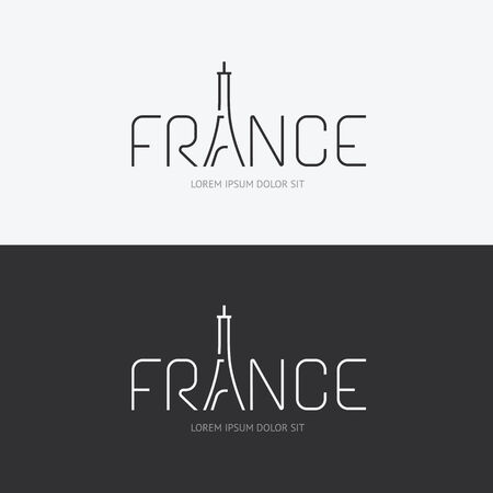 Vector alphabet france design concept with flat sign icon can be used for travel publishing or web design layout. Vector