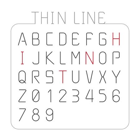 creative arts: Vector font thin line alphabet character style design set