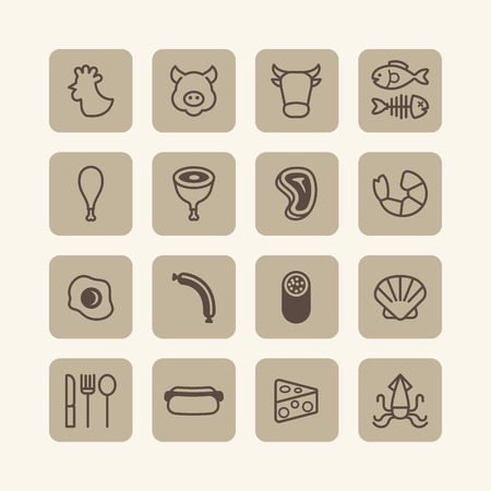 fried shrimp: Vector flat icons set of foods outline concept.