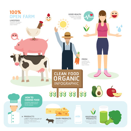 farmer sign: Organic Clean Foods Good Health Template Design Infographic. Concept Vector Illustration Illustration