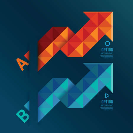leading education: Geometric arrows red and blue color  can be used for infographics  numbered banners  graphic or website layout vector