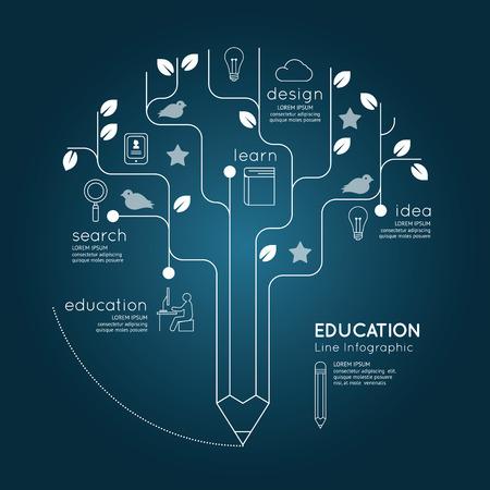 平らな線形インフォ グラフィック教育鉛筆ツリー概要の概念。ベクトル イラスト。  イラスト・ベクター素材