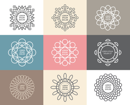 Vector set of calligraphic,flower abstract templates concept,outline emblems and badges Vector