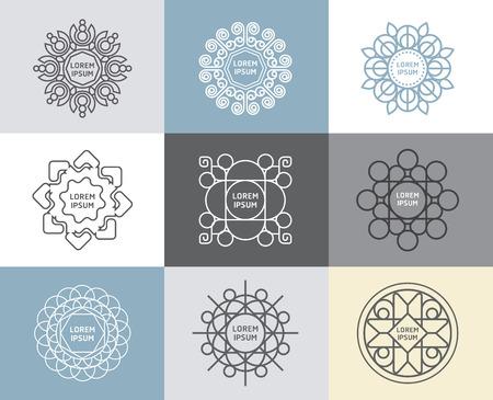 書道、花の抽象テンプレートの概念、アウトライン エンブレムやバッジのベクトルを設定
