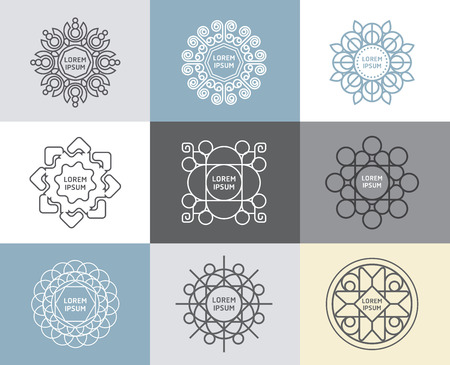 Vector set of calligraphic,flower abstract templates concept,outline emblems and badges Ilustração