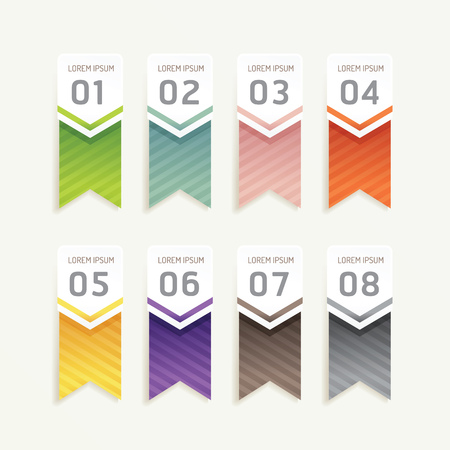 vector progress banners with ribbon colorful tags. can be used for infographics  number banner  number options concept graphic or web design layout. Vector