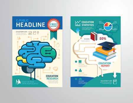 magazine icon: Vector brochure, flyer, magazine cover booklet poster design template.layout education annual report A4 size. Illustration
