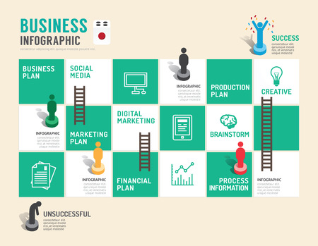 board game: Business board game concept infographic step to successful,vector illustration Illustration