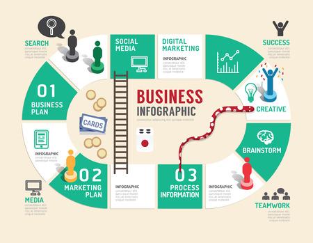 Junta de negocios concepto de juego paso infografía para el éxito, ilustración vectorial