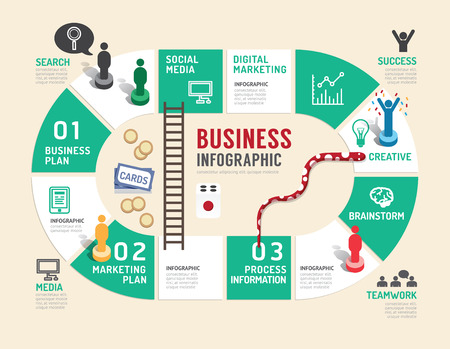 Business board game concept infographic step to successful,vector illustration Vectores
