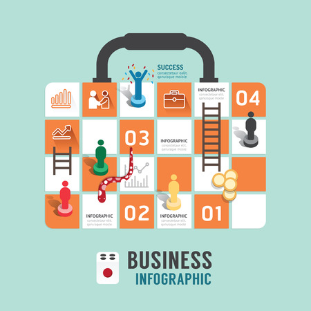 Business board game concept infographic step to successful,business bag shap vector illustration Illustration