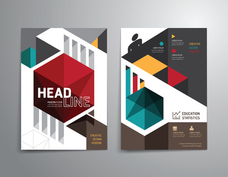 reports: Vector brochure, flyer, magazine cover booklet poster design template.layout education annual report A4 size. Illustration