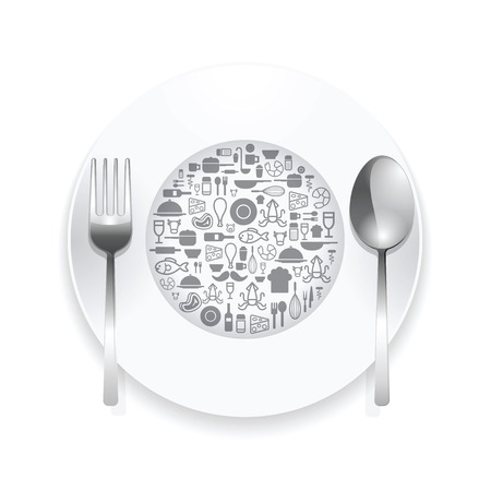 plate: Flat Icons plate,foods concept vector illustration Illustration